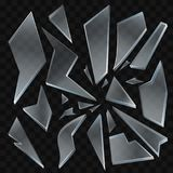 Tessons en verre cassés - clipart (images graphiques) d'isolement réaliste de vecteur moderne illustration de vecteur