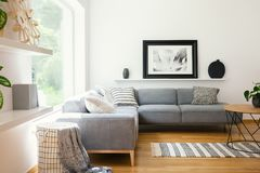 Tessuti e decorazioni in bianco e nero in un interno scandinavo classico del salone di stile con mobilia di legno e l'Unione Sovi fotografie stock libere da diritti