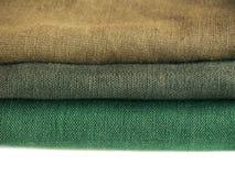 Tessuti: lino verde Fotografie Stock