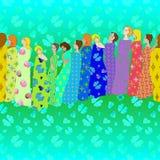Tessuti modellati Draped delle ragazze illustrazione di stock