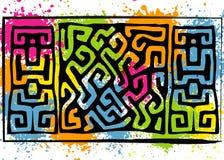 Tessuto africano della stampa, ornamento fatto a mano etnico per la vostra progettazione, elementi geometrici di motivi tribali d illustrazione vettoriale