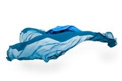 Tessuto blu astratto nel moto Immagine Stock
