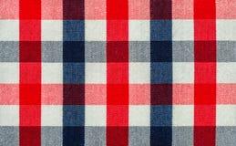 Tessuto blu, rosso e bianco del plaid fotografie stock