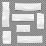 Tessuto che annuncia le insegne Bandiere ed insegna d'attaccatura, segno orizzontale bianco del panno del tessuto in bianco, vett illustrazione vettoriale