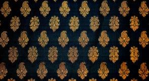 Tessuto con il disegno indiano tradizionale Fotografia Stock Libera da Diritti