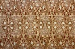 Tessuto con il modello floreale del batik Fotografie Stock Libere da Diritti