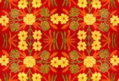 Tessuto con un modello dei fiori, ricamo, fatto a mano Immagini Stock