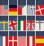 Tessuto dei jeans con le bandiere illustrazione di stock