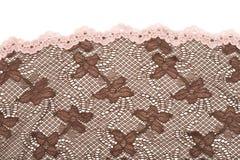 Tessuto del merletto del Brown Fotografia Stock Libera da Diritti