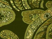 Tessuto del modello di verde di Paisley Fotografia Stock