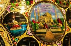 Tessuto del ricordo di Costantinopoli con le immagini della moschea Fotografia Stock