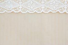 Tessuto del sacco e pizzo bianco Fotografia Stock Libera da Diritti