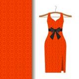 Tessuto del vestito con il modello arabo rosso Immagine Stock Libera da Diritti