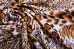 Tessuto della stampa del leopardo Fotografie Stock