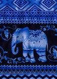 Tessuto della stampa dell'elefante Fotografie Stock Libere da Diritti