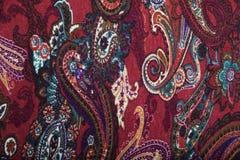 Tessuto della tela con il modello floreale multicolore di Paisley Fotografia Stock