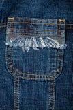 Tessuto delle blue jeans con la casella Fotografie Stock