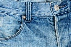 Tessuto delle blue jeans con la tasca Fotografie Stock Libere da Diritti