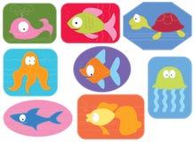 Tessuto di Applique con gli animali dell'acqua dei fumetti. Immagini Stock Libere da Diritti