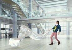 Tessuto di bianco di tirata della donna 3d rendono Fotografie Stock