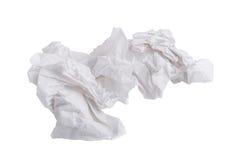 tessuto di carta avvitato usato isolato su fondo bianco immagini stock libere da diritti