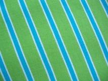 Tessuto di cotone con le bande di bianco e di verde blu fotografia stock