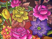 Tessuto di seta floreale Immagine Stock