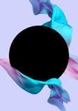 Tessuto di seta volante Wave, raso d'ondeggiamento Colore blu e rosa, fondo porpora Illustrazione di Stock