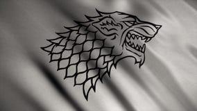 Tessuto di sviluppo astratto della bandiera animazione Siluetta del lupo con i contorni neri su fondo di argento di sviluppo archivi video