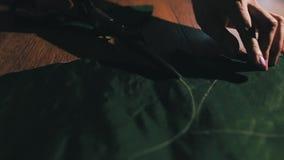 Tessuto di taglio del sarto facendo uso di grandi forbici o tagli come segue le marcature del gesso del modello, fine su del suo archivi video