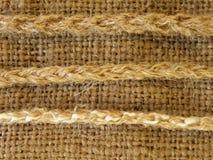 Tessuto di tela con le stringhe Fotografia Stock