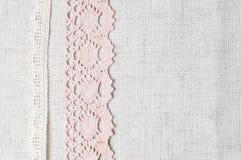 Tessuto di tela e merletto handmade Immagine Stock