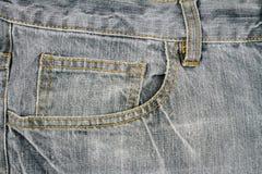 Tessuto grigio dei jeans con la tasca Fotografia Stock Libera da Diritti