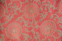Tessuto indiano con il disegno tradizionale Fotografia Stock Libera da Diritti