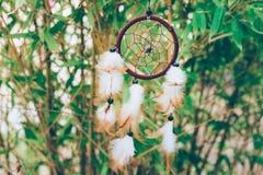 Tessuto intorno al collettore di sogno con le perle mette le piume all'oscillazione d'attaccatura nel vento nell'incanto fortunat immagine stock
