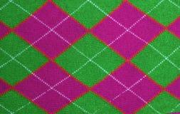 Tessuto lilla e verde del reticolo del argyle Fotografie Stock
