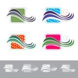 Tessuto o tessuto astratto Logo Design Set Fotografia Stock
