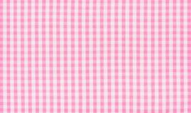 Tessuto a quadretti bianco e di rosa Immagini Stock