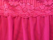 Tessuto rosa del pizzo Fotografia Stock
