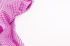 Tessuto rosa della tovaglia su fondo bianco Immagine Stock Libera da Diritti