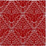 Tessuto rosso con un modello antiquato del broccato royalty illustrazione gratis
