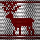 Tessuto tricottato bianco con un ornamento e un cervo rossi illustrazione vettoriale