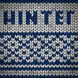 Tessuto tricottato bianco con un ornamento e un'iscrizione blu WINTE illustrazione di stock