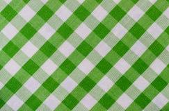 Tessuto verde e bianco del plaid fotografia stock libera da diritti
