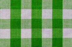 Tessuto verde e bianco del plaid immagini stock libere da diritti