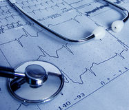 Test. Real cardiological test with stethoscope Stock Photo