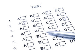 Test abcd. One test with different answers and one pen Stock Images