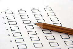 Test - the answer sheet Stock Image
