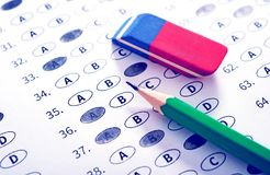 Test answer sheet with pencil. Examination test. Education conce. Pt Royalty Free Stock Images