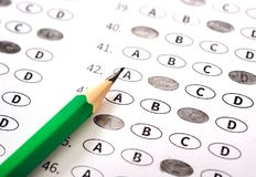Test answer sheet with pencil. Examination test. Education conce. Pt Stock Photography